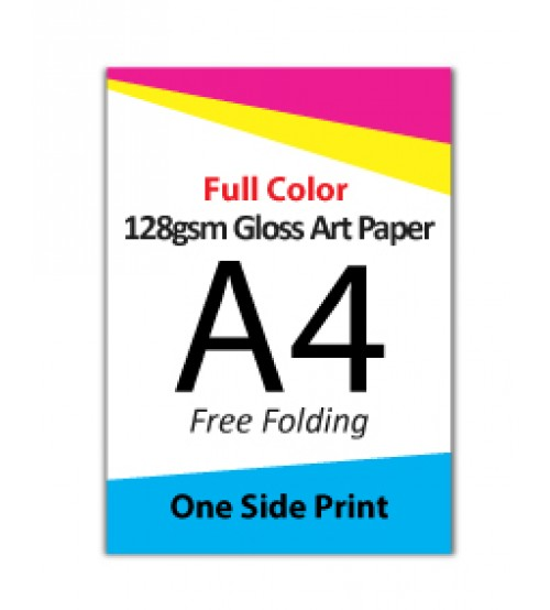 A4 Flyer - 128gsm Gloss Art Paper (1 Side Print,Free Folding)- FREE DELIVERY PENINSULAR MALAYSIA