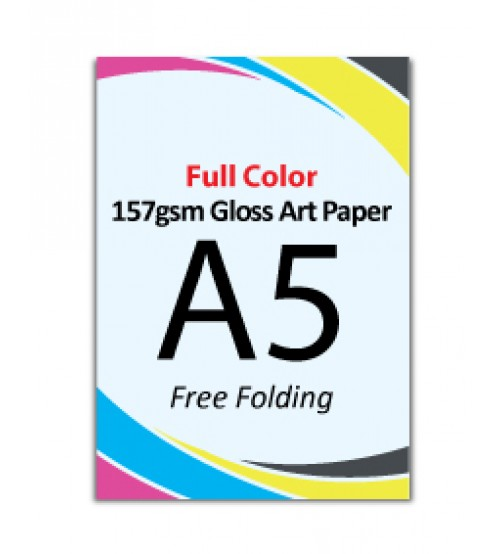 A5 Flyer - 157gsm Gloss Art Paper (2 Side Print,Free Folding)- FREE DELIVERY PENINSULAR MALAYSIA