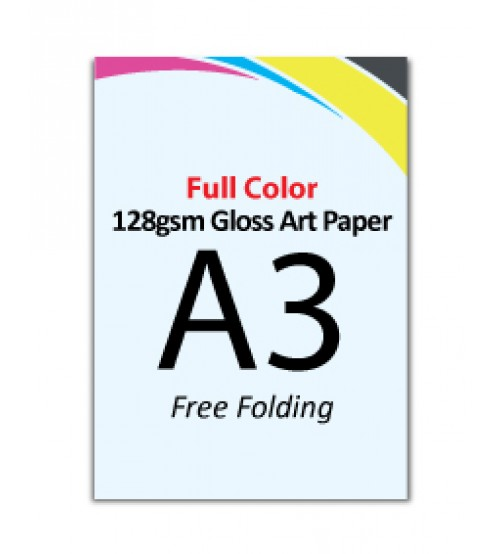 A3 Flyer 128gsm Gloss Art Paper (Free Folding) - FREE DELIVERY PENINSULAR MALAYSIA