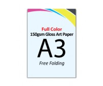 A3 Flyer 150gsm Gloss Art Paper (Free Folding)- FREE DELIVERY PENINSULAR MALAYSIA