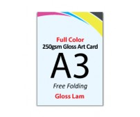 A3 Flyer 250gsm Art Card - 2 Side Gloss Lam (Free Folding) - FREE DELIVERY PENINSULAR MALAYSIA