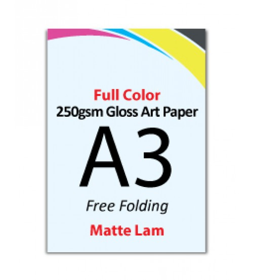 A3 Flyer 250gsm Art Card - 1 Side Matte Lam (Free Folding) - FREE DELIVERY PENINSULAR MALAYSIA