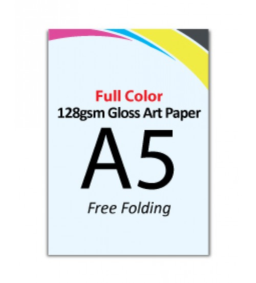 A5 Flyer - 128gsm Gloss Art Paper (Free Folding) - FREE DELIVERY PENINSULAR MALAYSIA