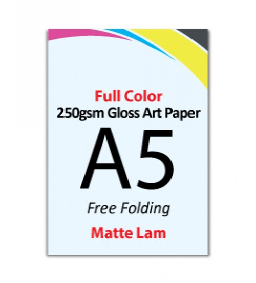 A5 Flyer 250gsm Art Card - 1 Side Matte Lam (Free Folding) - FREE DELIVERY PENINSULAR MALAYSIA