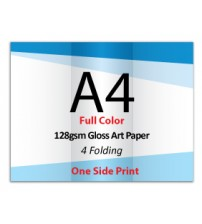 A4 Leaflet / Brochure - 128gsm Gloss Art Paper (1 Side Print,4 Folding) - FREE DELIVERY PENINSULAR MALAYSIA