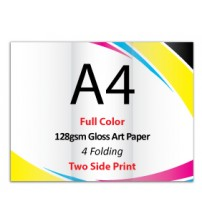 A4 Leaflet / Brochure - 128gsm Gloss Art Paper (2 Side Print,4 Folding) - FREE DELIVERY PENINSULAR MALAYSIA