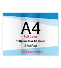 A4 Leaflet / Brochure - 150gsm Gloss Art Paper (1 Side Print,4 Folding) - FREE DELIVERY PENINSULAR MALAYSIA