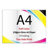 A4 Leaflet / Brochure - 150gsm Gloss Art Paper (2 Side Print,4 Folding) - FREE DELIVERY PENINSULAR MALAYSIA