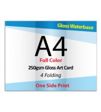 A4 Leaflet / Brochure - 250gsm Gloss Art Card GLOSS WATERBASE (1 Side Print,4 Folding) - FREE DELIVERY PENINSULAR MALAYSIA