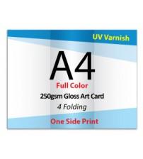 A4 Leaflet / Brochure - 250gsm Gloss Art Card UV VARNISH (1 Side Print,4 Folding) - FREE DELIVERY PENINSULAR MALAYSIA