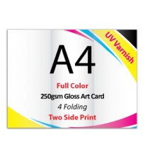 A4 Leaflet / Brochure - 250gsm Gloss Art Card UV VARNISH (2 Side Print,4 Folding) - FREE DELIVERY PENINSULAR MALAYSIA