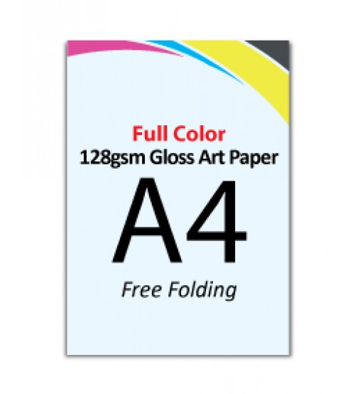 A4  Flyer 128gsm Gloss Art Paper (Free Folding) - FREE DELIVERY PENINSULAR MALAYSIA