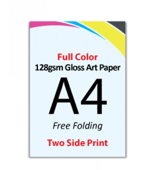 A4 Flyer - 128gsm Gloss Art Paper (2 Side Print,Free Folding)- FREE DELIVERY PENINSULAR MALAYSIA