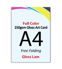 A4 Flyer 250gsm Art Card - 1 Side Gloss Lam (Free Folding) - FREE DELIVERY PENINSULAR MALAYSIA