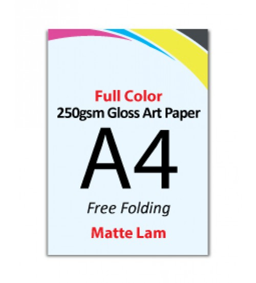 A4 Flyer 250gsm Art Card - 1 Side Matte Lam (Free Folding) - FREE DELIVERY PENINSULAR MALAYSIA